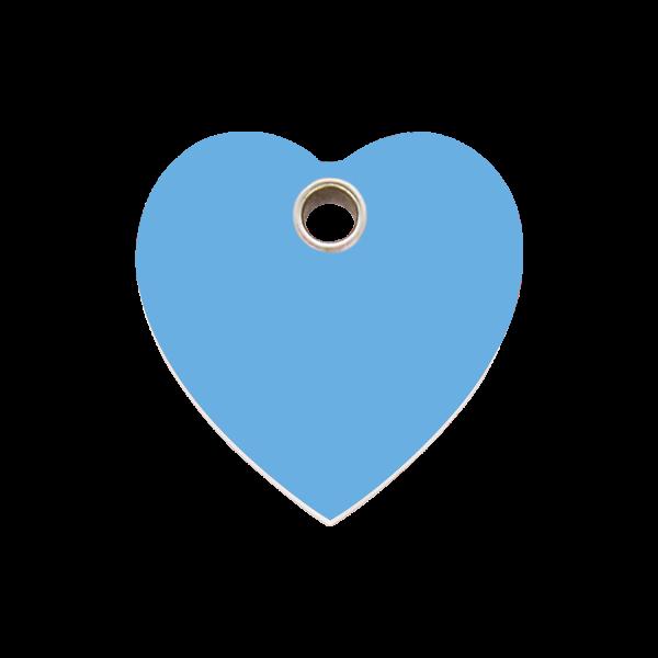 Hundemarke + Gravur, Hundemarken gravieren aus Plastik Heart Light Blue