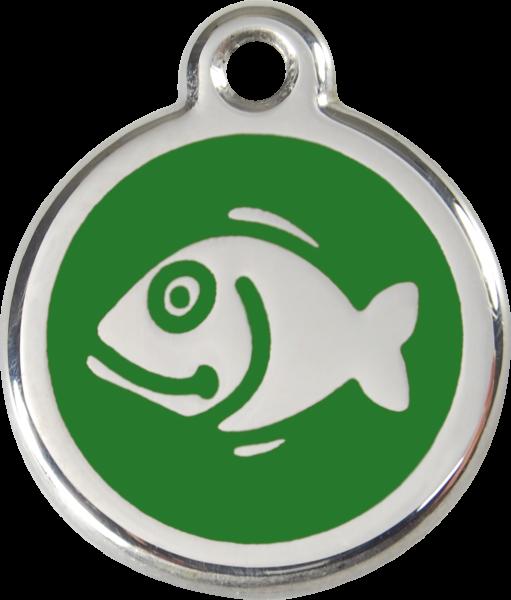Katzenmarken mit Gravur, Adressanhänger für Katzen, Fish Green