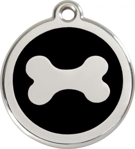 Hundemarken- Hundemarke mit Gravur - Tiermarke graviert Katzenmarke  Bone Black