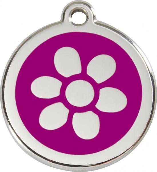 Hundemarken- Hundemarke mit Gravur - Tiermarke graviert Katzenmarke  Flower Purple