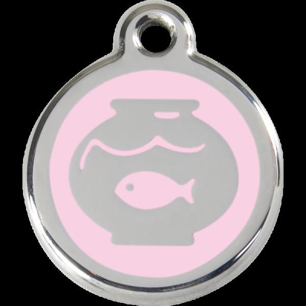 Katzenmarken mit Gravur, Adressanhänger für Katzen, Fish Bowl Pink