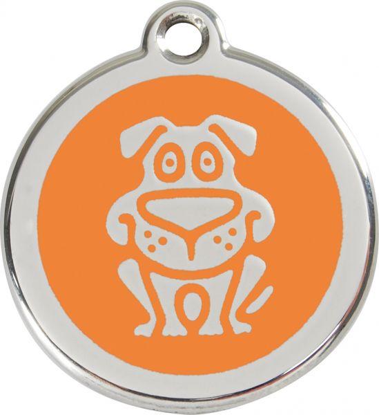 Hundemarken- Hundemarke mit Gravur - Tiermarke graviert Katzenmarke  Dog Orange