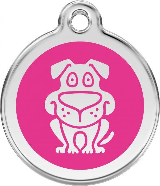 Hundemarken- Hundemarke mit Gravur - Tiermarke graviert Katzenmarke  Dog Hot Pink
