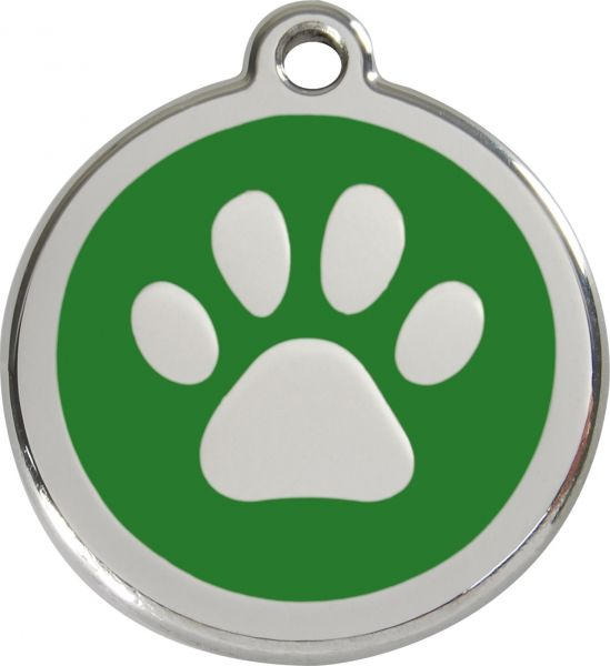 Hundemarken- Hundemarke mit Gravur - Tiermarke graviert Katzenmarke  Paw Print Green