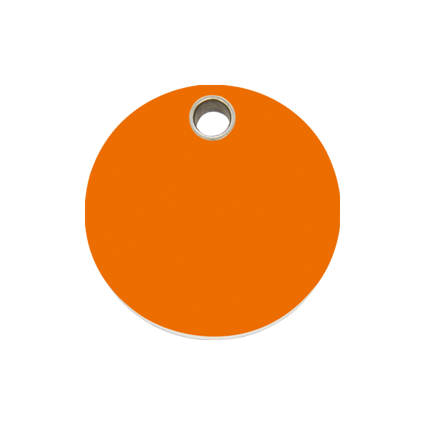 Hundemarke + Gravur, Hundemarken gravieren aus Plastik Circle Orange
