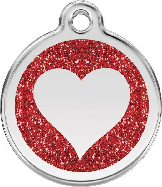 Hundemarken- Hundemarke mit Gravur - Tiermarke graviert Katzenmarke  Heart Red Glitter