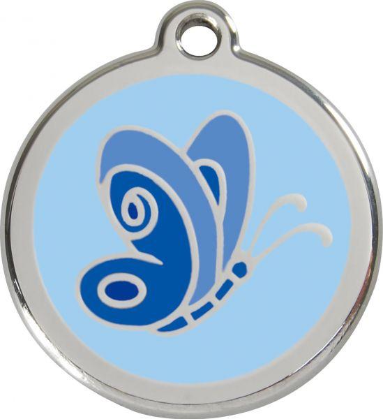Hundemarken- Hundemarke mit Gravur - Tiermarke graviert Katzenmarke  Butterfly Light Blue
