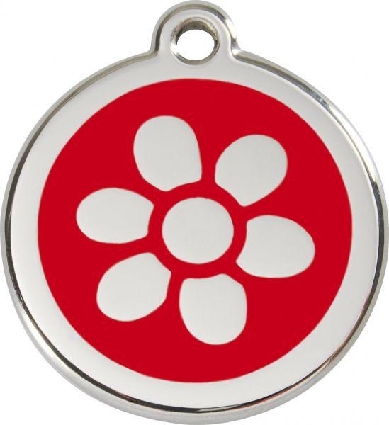 Hundemarken- Hundemarke mit Gravur - Tiermarke graviert Katzenmarke  Flower Red
