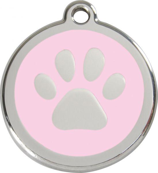 Hundemarken- Hundemarke mit Gravur - Tiermarke graviert Katzenmarke  Paw Print Pink