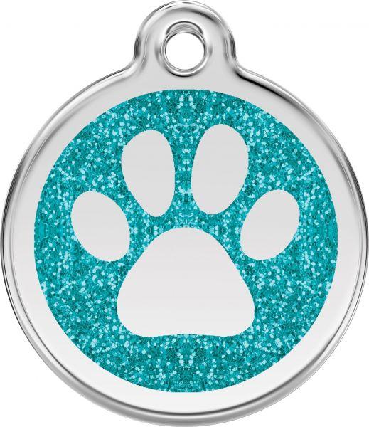 Hundemarken- Hundemarke mit Gravur - Tiermarke graviert Katzenmarke  Paw Prints Aqua Glitter