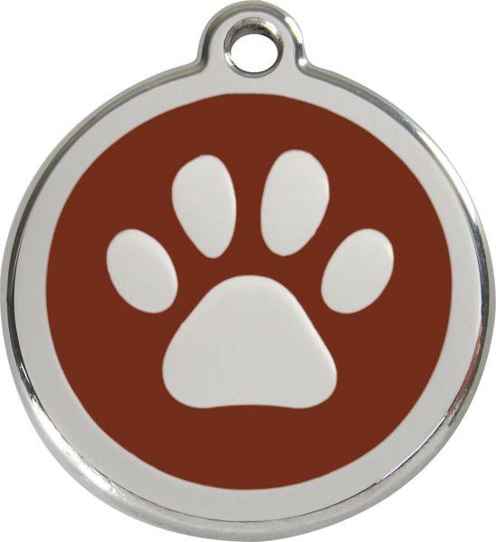 Hundemarken- Hundemarke mit Gravur - Tiermarke graviert Katzenmarke  Paw Print Brown