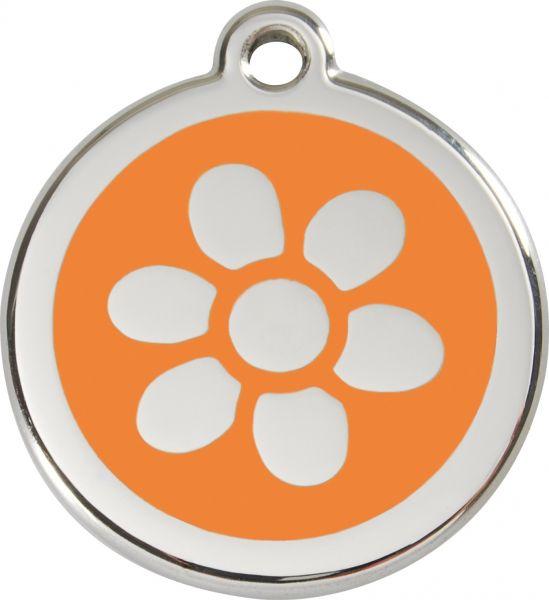 Hundemarken- Hundemarke mit Gravur - Tiermarke graviert Katzenmarke  Flower Orange