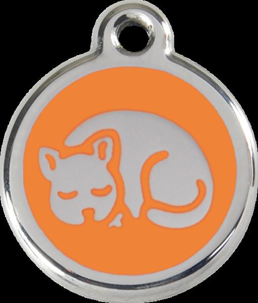 Katzenmarken mit Gravur, Adressanhänger für Katzen, Kitten Orange