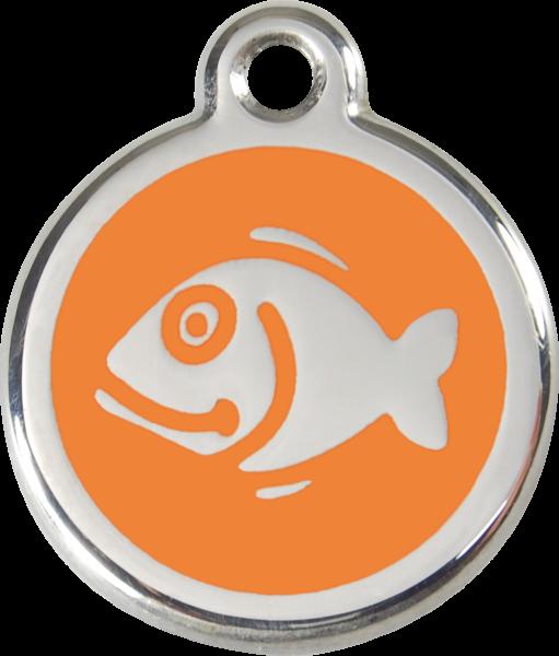 Katzenmarken mit Gravur, Adressanhänger für Katzen, Fish Orange
