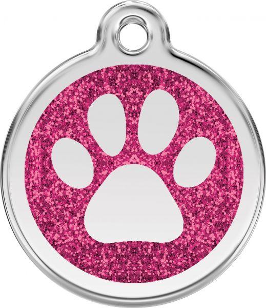 Hundemarken- Hundemarke mit Gravur - Tiermarke graviert Katzenmarke  Paw Prints Hot Pink Glitter