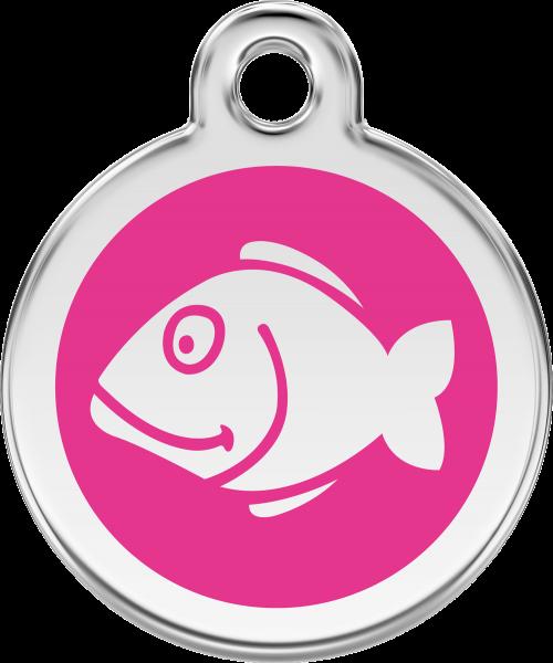 Katzenmarken mit Gravur, Adressanhänger für Katzen, Fish Hot Pink