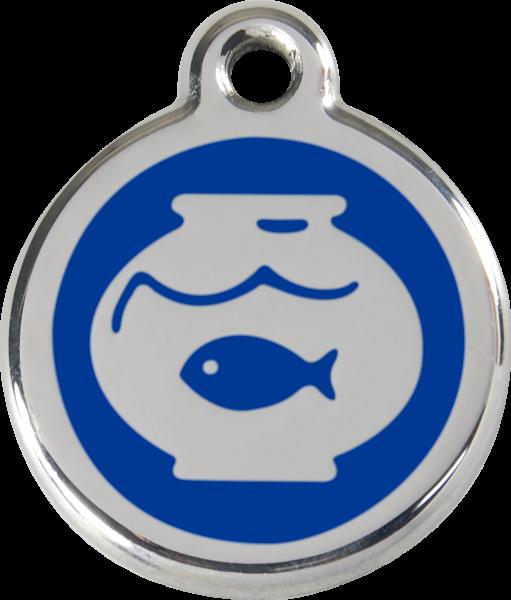 Katzenmarken mit Gravur, Adressanhänger für Katzen, Fish Bowl Dark Blue
