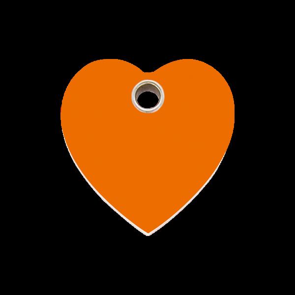 Hundemarke + Gravur, Hundemarken gravieren aus Plastik Heart Orange