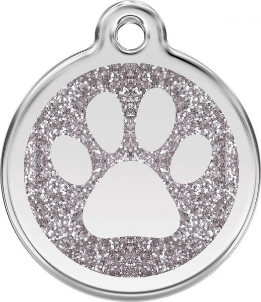 Hundemarken- Hundemarke mit Gravur - Tiermarke graviert Katzenmarke  Paw Prints Silver Glitter