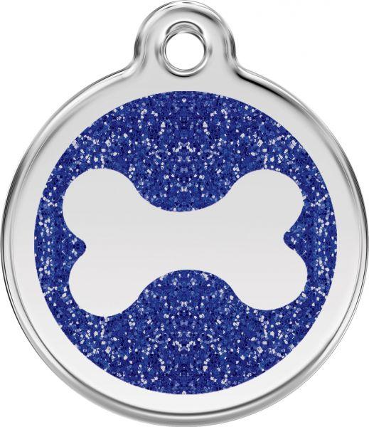 Hundemarken- Hundemarke mit Gravur - Tiermarke graviert Katzenmarke  Bone Dark Blue Glitter