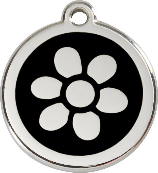 Hundemarken- Hundemarke mit Gravur - Tiermarke graviert Katzenmarke  Flower Black