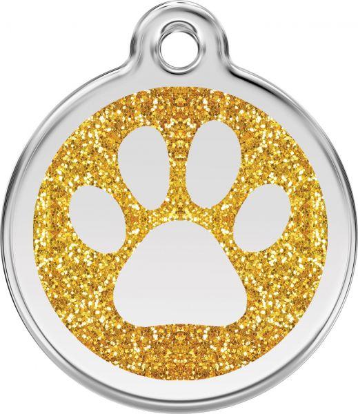 Hundemarken- Hundemarke mit Gravur - Tiermarke graviert Katzenmarke  Paw Prints Gold Glitter