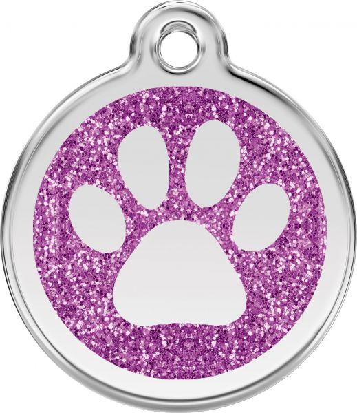 Hundemarken- Hundemarke mit Gravur - Tiermarke graviert Katzenmarke  Paw Prints Purple Glitter