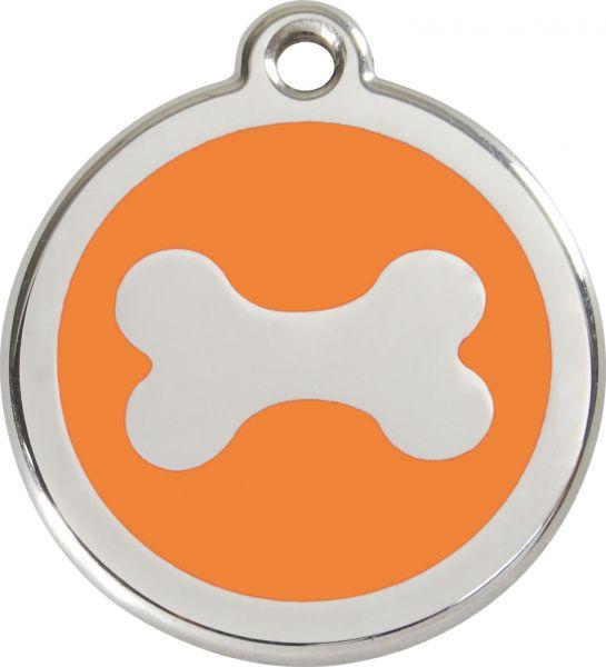 Hundemarken- Hundemarke mit Gravur - Tiermarke graviert Katzenmarke  Bone Orange