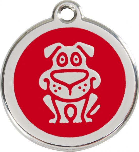 Hundemarken- Hundemarke mit Gravur - Tiermarke graviert Katzenmarke  Dog Red