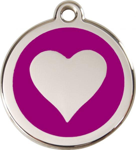 Hundemarken- Hundemarke mit Gravur - Tiermarke graviert Katzenmarke  Heart Purple
