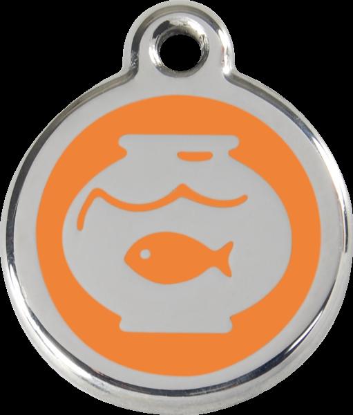 Katzenmarken mit Gravur, Adressanhänger für Katzen, Fish Bowl Orange