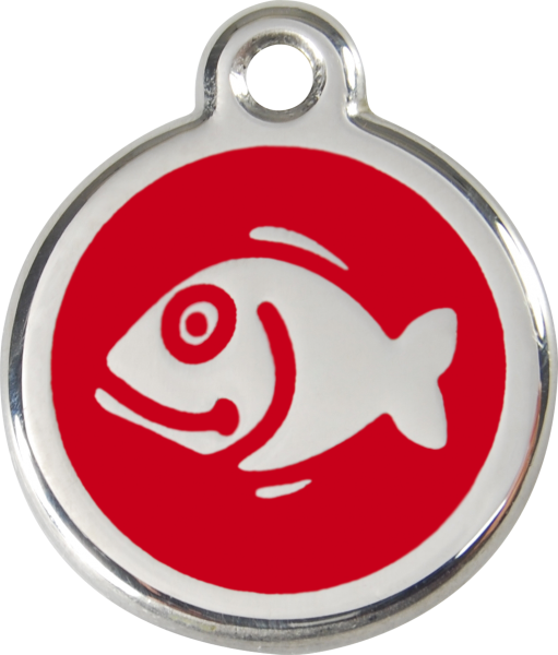 Katzenmarken mit Gravur, Adressanhänger für Katzen, Fish Red