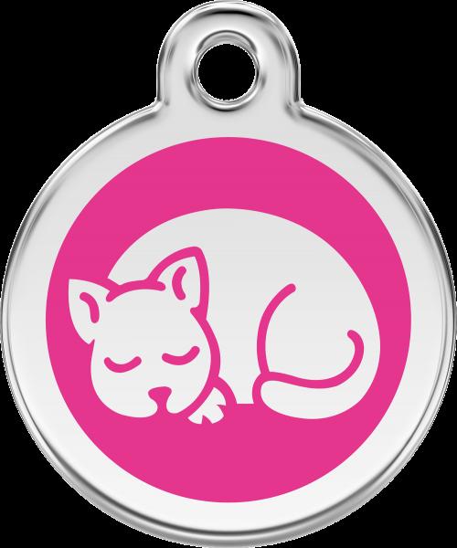 Katzenmarken mit Gravur, Adressanhänger für Katzen, Kitten Hot Pink