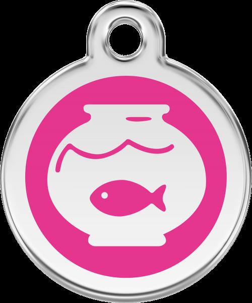Katzenmarken mit Gravur, Adressanhänger für Katzen, Fish Bowl Hot Pink