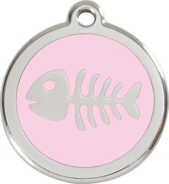 Hundemarken- Hundemarke mit Gravur - Tiermarke graviert Katzenmarke  Fish Bone Pink