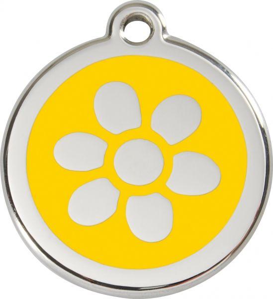 Hundemarken- Hundemarke mit Gravur - Tiermarke graviert Katzenmarke  Flower Yellow