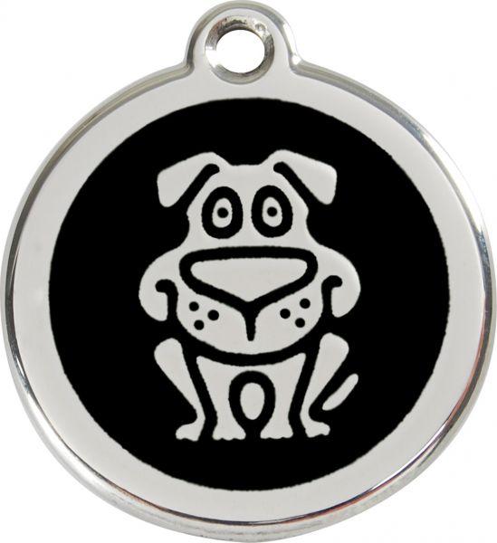 Hundemarken- Hundemarke mit Gravur - Tiermarke graviert Katzenmarke  Dog Black
