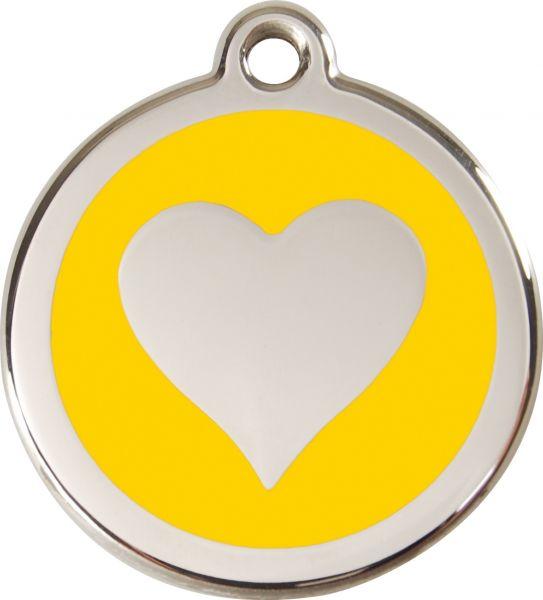 Hundemarken- Hundemarke mit Gravur - Tiermarke graviert Katzenmarke  Heart Yellow