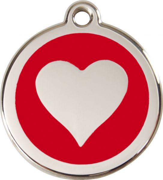 Hundemarken- Hundemarke mit Gravur - Tiermarke graviert Katzenmarke  Heart Red
