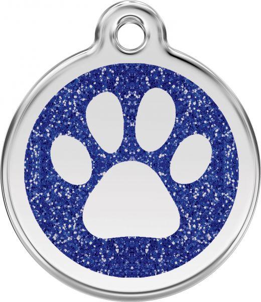 Hundemarken- Hundemarke mit Gravur - Tiermarke graviert Katzenmarke  Paw Prints Dark Blue Glitter