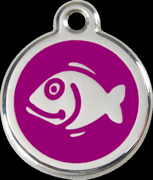 Katzenmarken mit Gravur, Adressanhänger für Katzen, Fish Purple