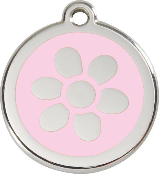 Hundemarken- Hundemarke mit Gravur - Tiermarke graviert Katzenmarke  Flower Pink