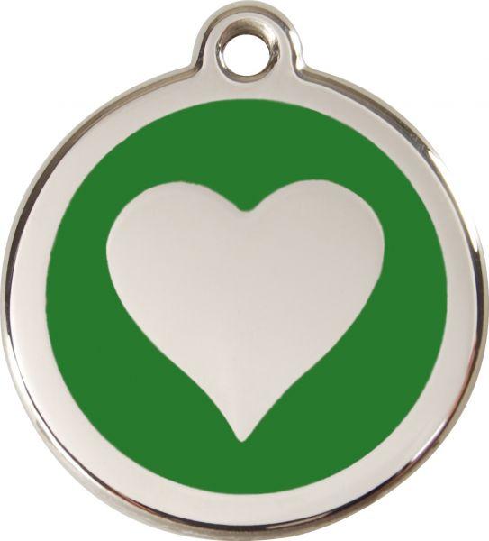 Hundemarken- Hundemarke mit Gravur - Tiermarke graviert Katzenmarke  Heart Green