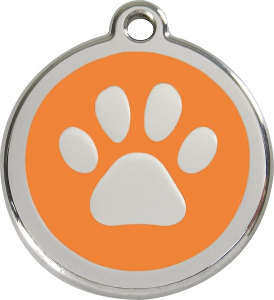 Hundemarken- Hundemarke mit Gravur - Tiermarke graviert Katzenmarke  Paw Print Orange