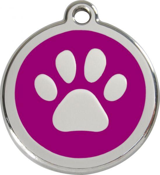 Hundemarken- Hundemarke mit Gravur - Tiermarke graviert Katzenmarke  Paw Print Purple