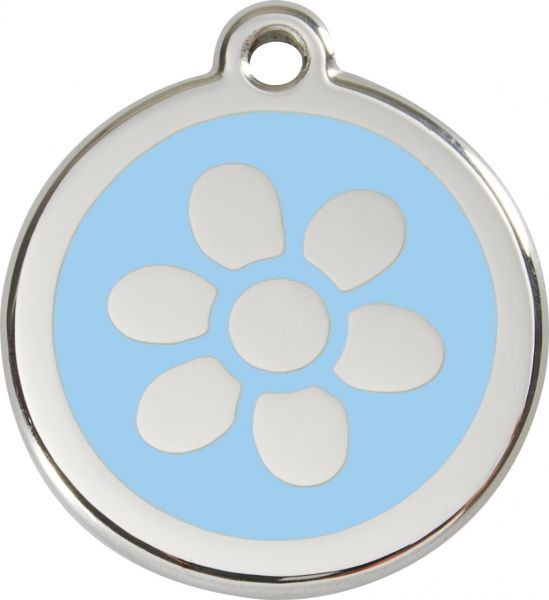 Hundemarken- Hundemarke mit Gravur - Tiermarke graviert Katzenmarke  Flower Light Blue