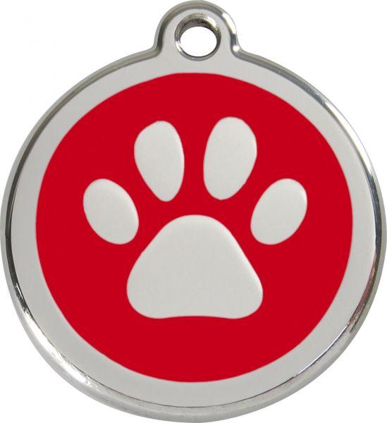 Hundemarken- Hundemarke mit Gravur - Tiermarke graviert Katzenmarke  Paw Print Red