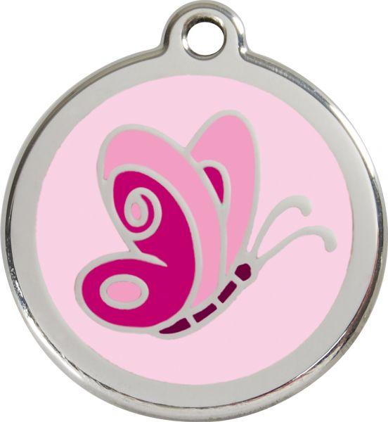 Hundemarken- Hundemarke mit Gravur - Tiermarke graviert Katzenmarke  Butterfly Pink