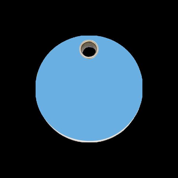 Hundemarke + Gravur, Hundemarken gravieren aus Plastik Circle Light Blue