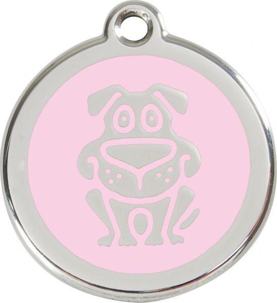 Hundemarken- Hundemarke mit Gravur - Tiermarke graviert Katzenmarke  Dog Pink